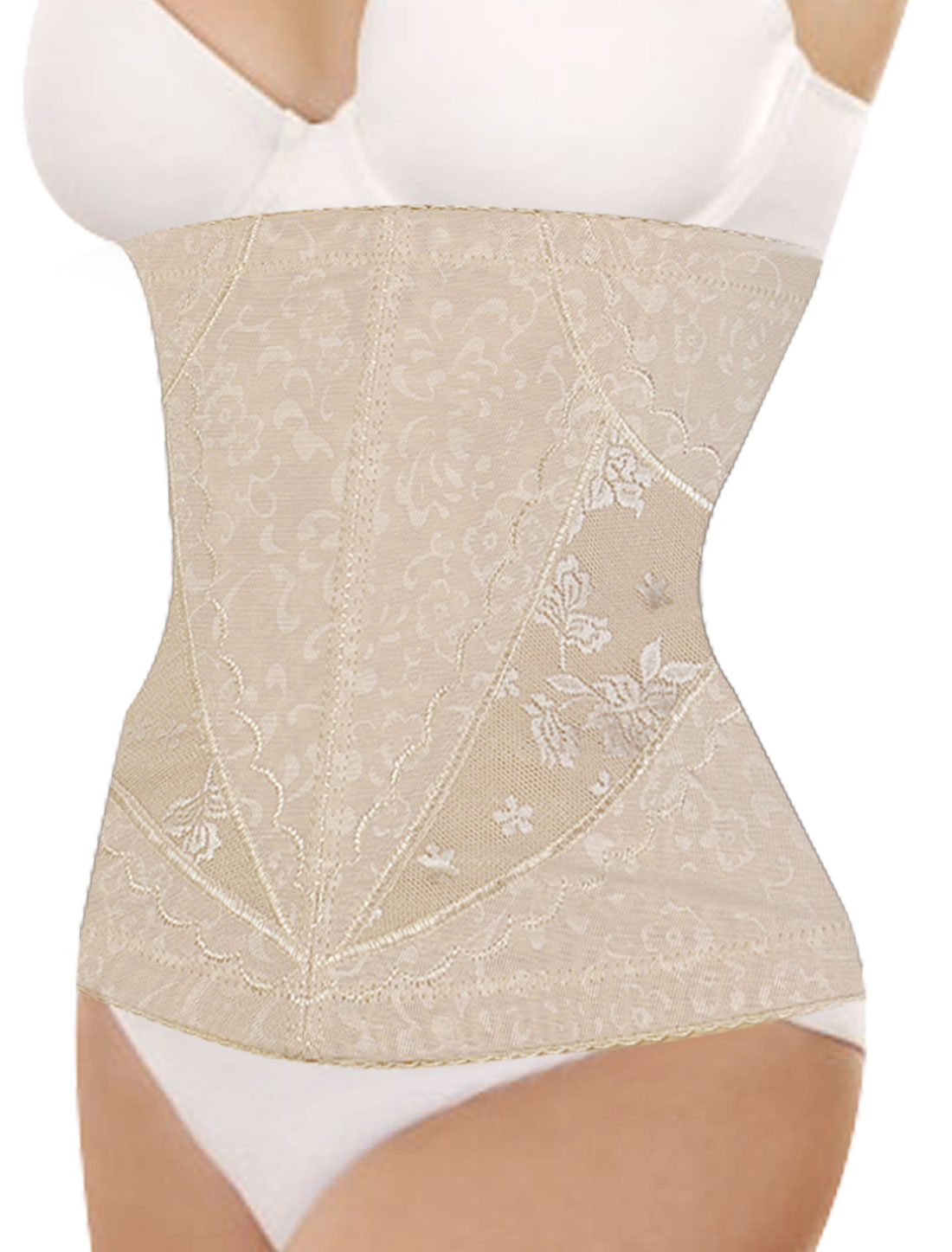 Women Floral Pattern Elastic Shapewear Slimming Belt Waist Cincher Flesh Color S