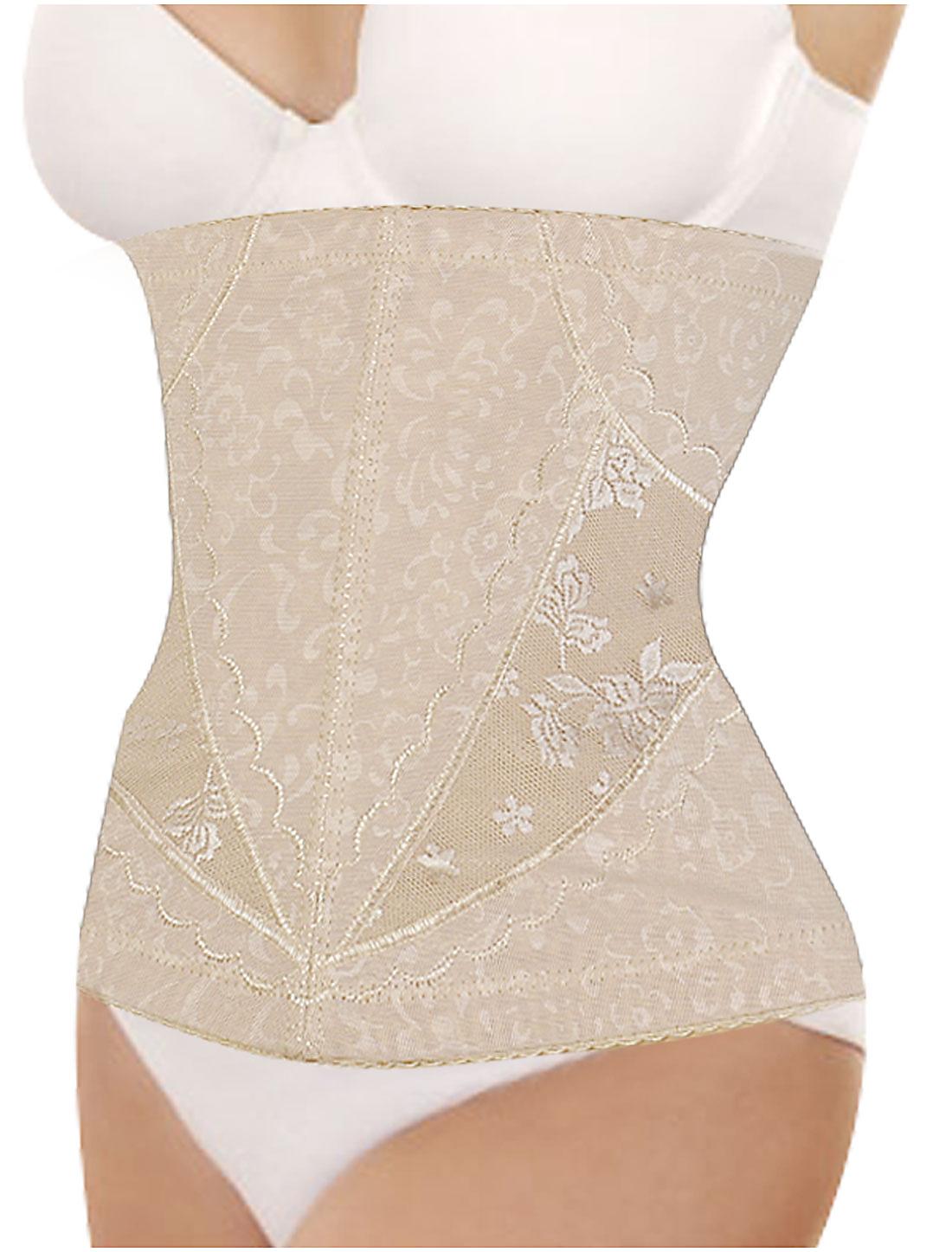 Women Floral Pattern Elastic Shapewear Slimming Belt Corset Waist Cincher Flesh Color M