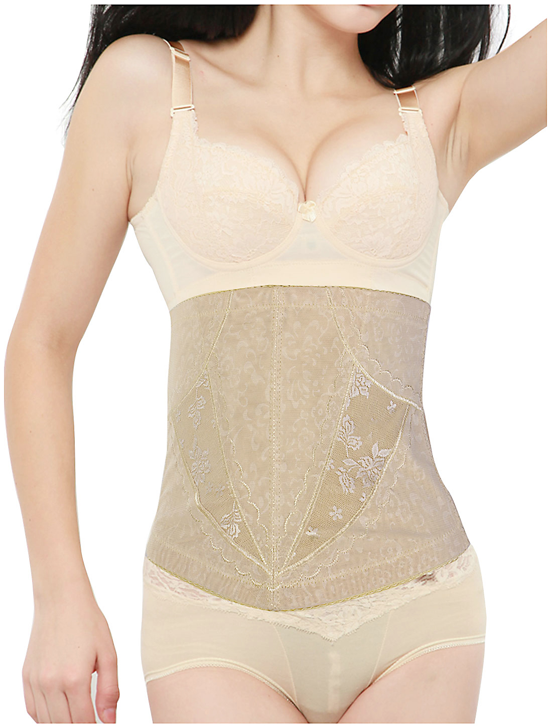 Women Floral Pattern Elastic Shapewear Slimming Belt Corset Waist Cincher Flesh Color L