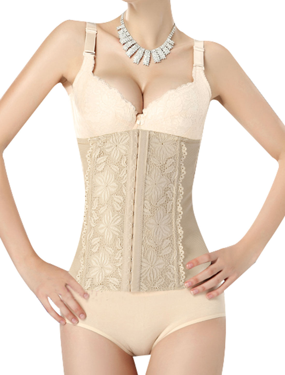 L Flesh Color Waist Tummy Belt Body Shaper Adjustable Corset Cincher for Ladies