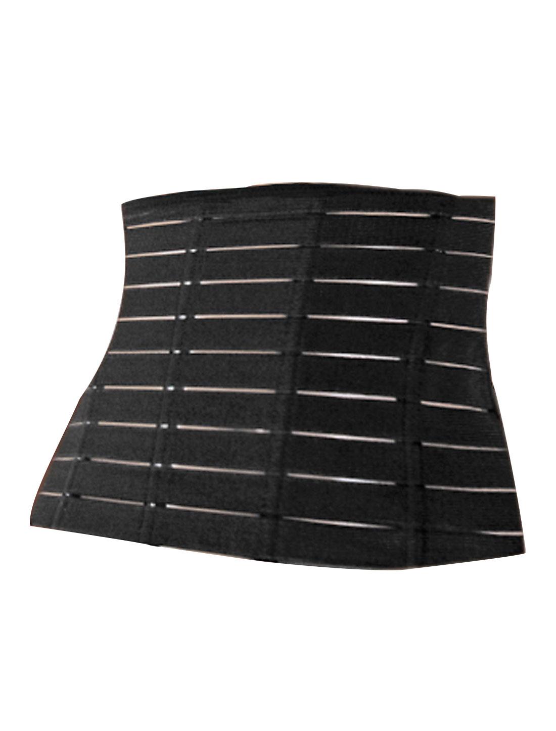 Woman Stripes Design Tummy Girdle Body Shaper Underbust Corset Waist Cincher Black S