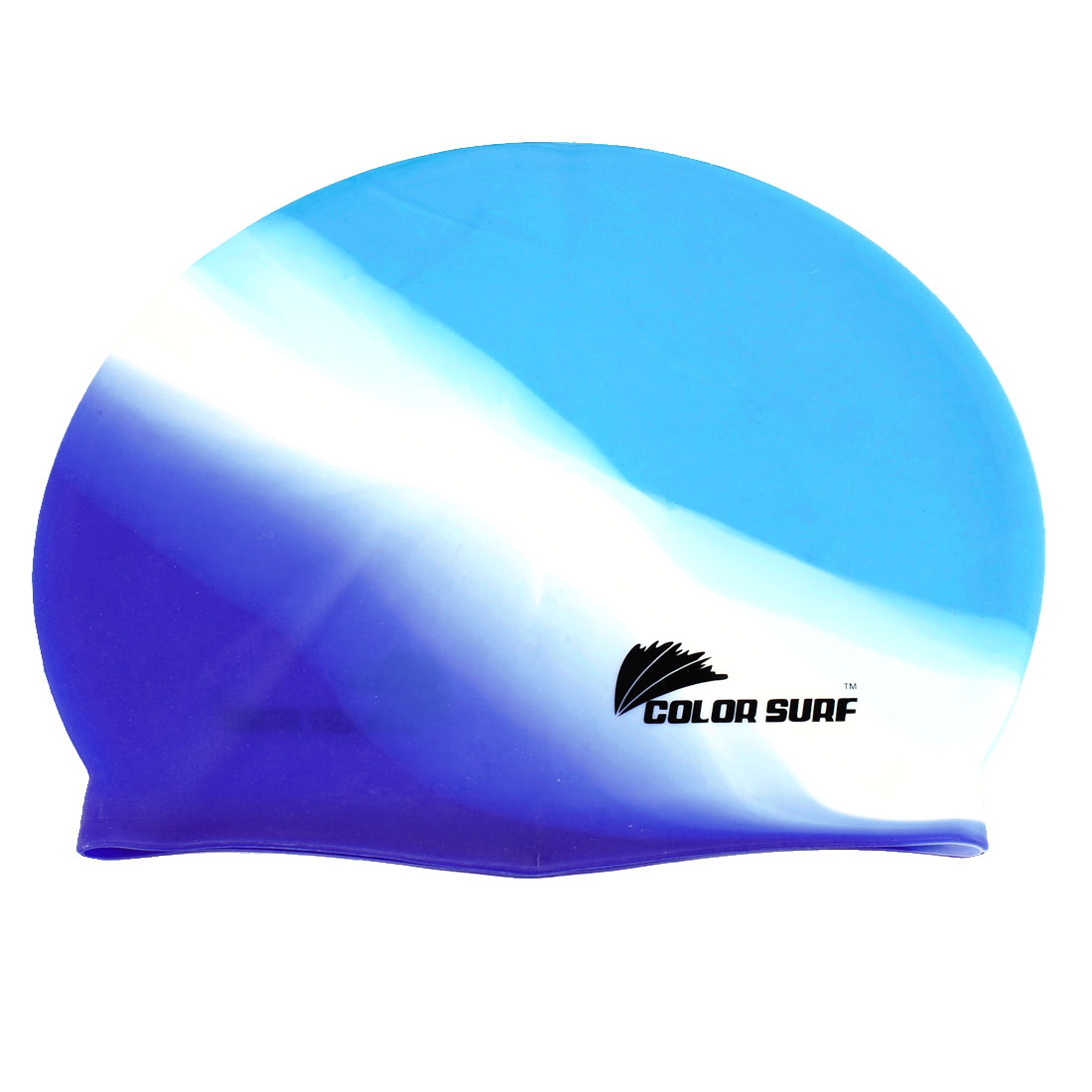 Woman Man Silicone Elastic Swimming Cap Hat Blue White