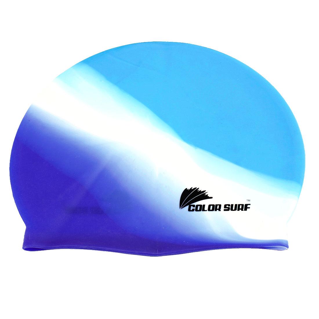 Woman Man Silicone Elastic Swimming Cap Hat Blue White