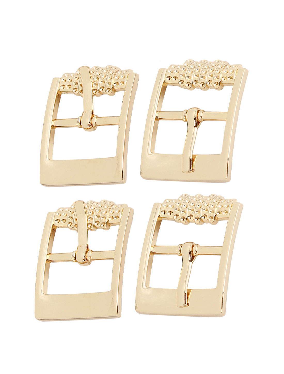 4 Pcs Gold Tone Metal Rectangular Belt Single Pin Buckle