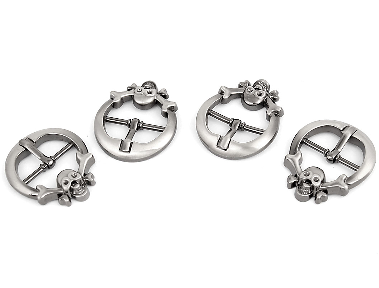 4 Pcs Silver Gray Metal Skull Decor Round Belt Single Pin Buckle