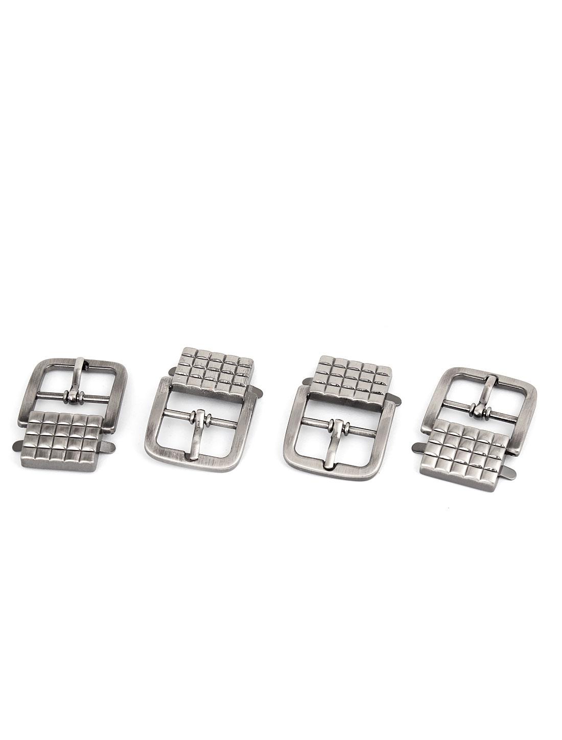 Belt Replacement Silver Gray Metal Single Pin Buckle 4 Pcs