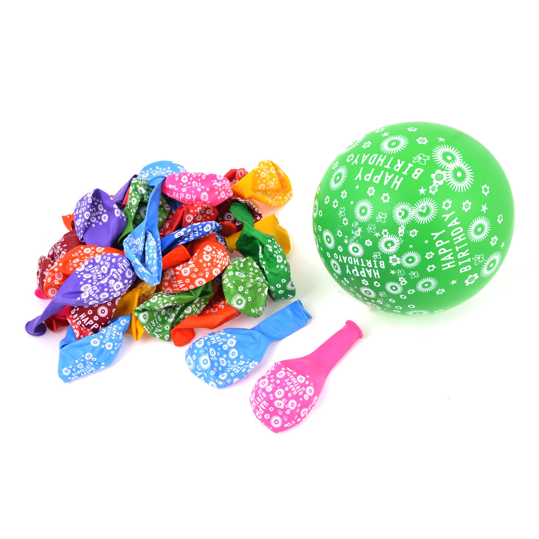 Assorted Color Words Flower Print Festival Ornament Latex Balloons 100 Pcs