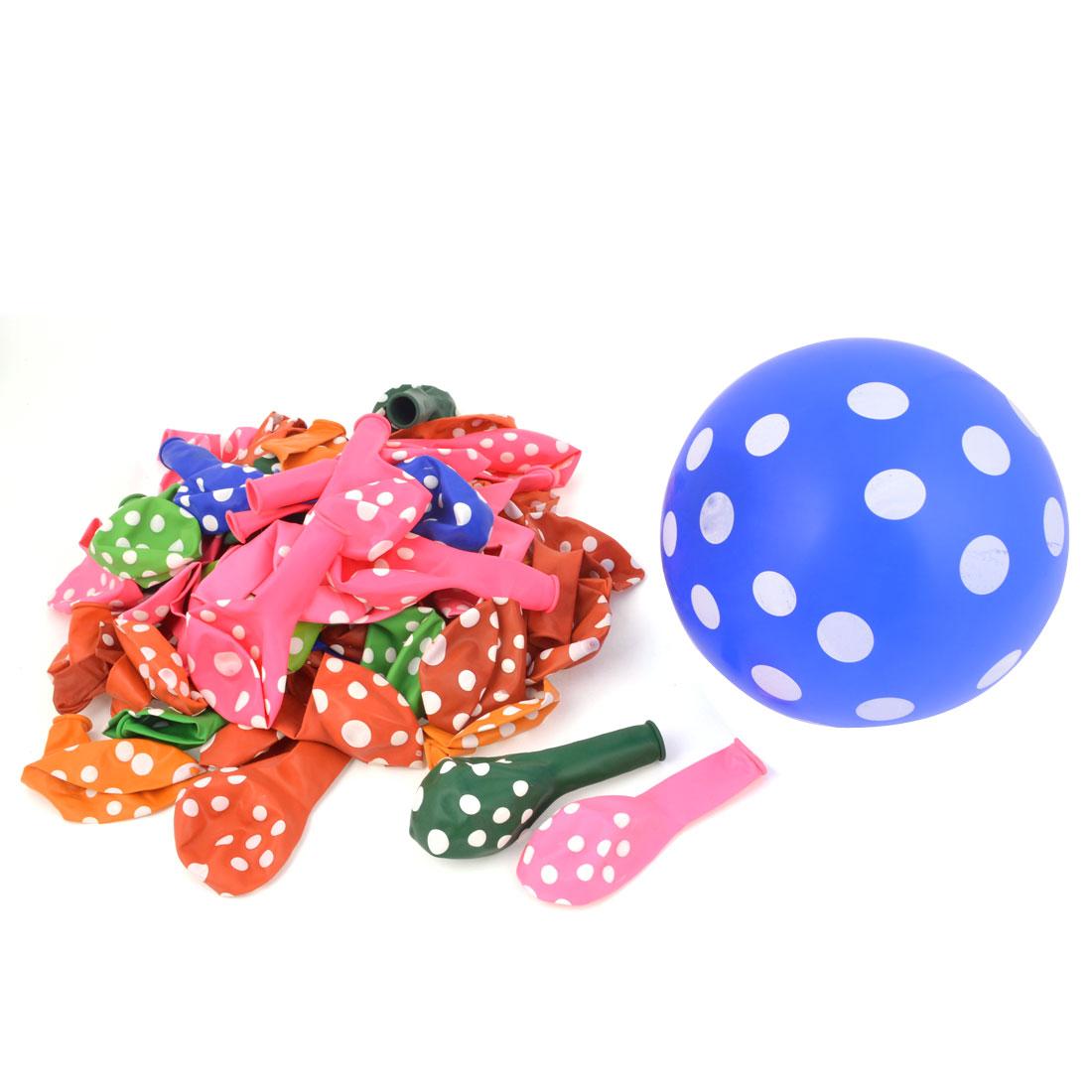 Assorted Color Dots Printed Festival Decorative Latex Balloons 100 Pcs