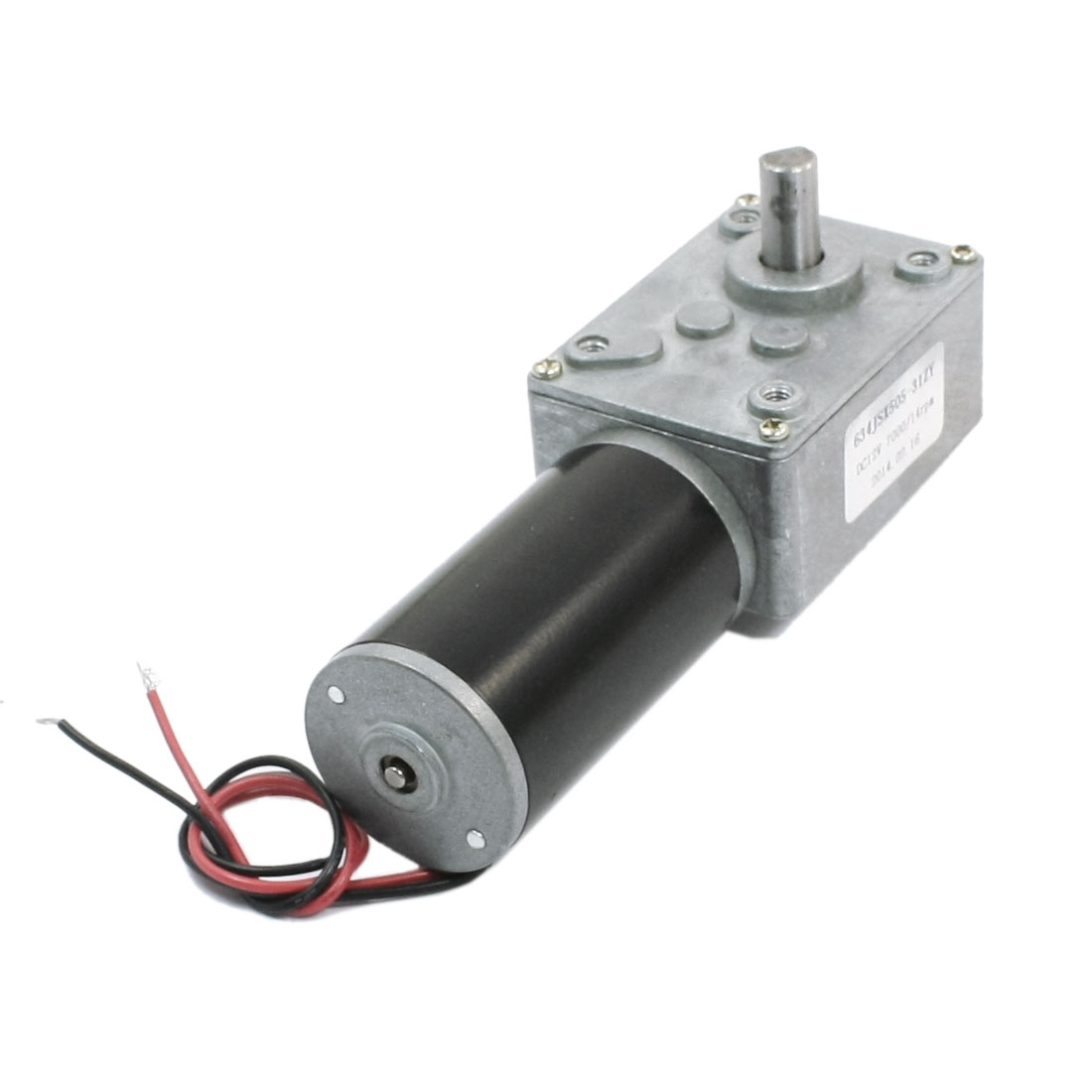"7.7"" Long Dual Wire 7mm Shaft Reduction Ratio 7000RPM/14RPM Rotary Speed Reduce Worm Geared Box Motor DC12V"