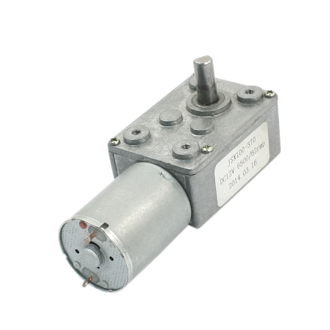 JSX100-370 DC 12V Reduction Ratio 6500RPM/62RPM Rotary Speed Reducer High Torque Worm Geared Box Motor