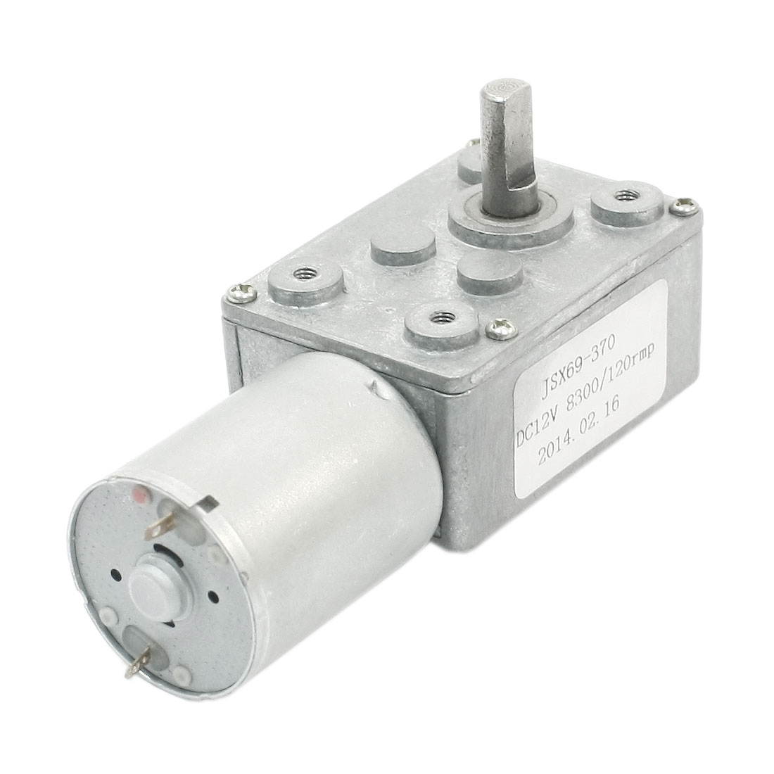 JSX69-370 4.5mm Dia D Shaft 2Pin Connect Speed Rotary Reducer Reduction Ratio 8300RPM/120RPM DC12V 8300RPM 120RPM Worm Geared Box Motor