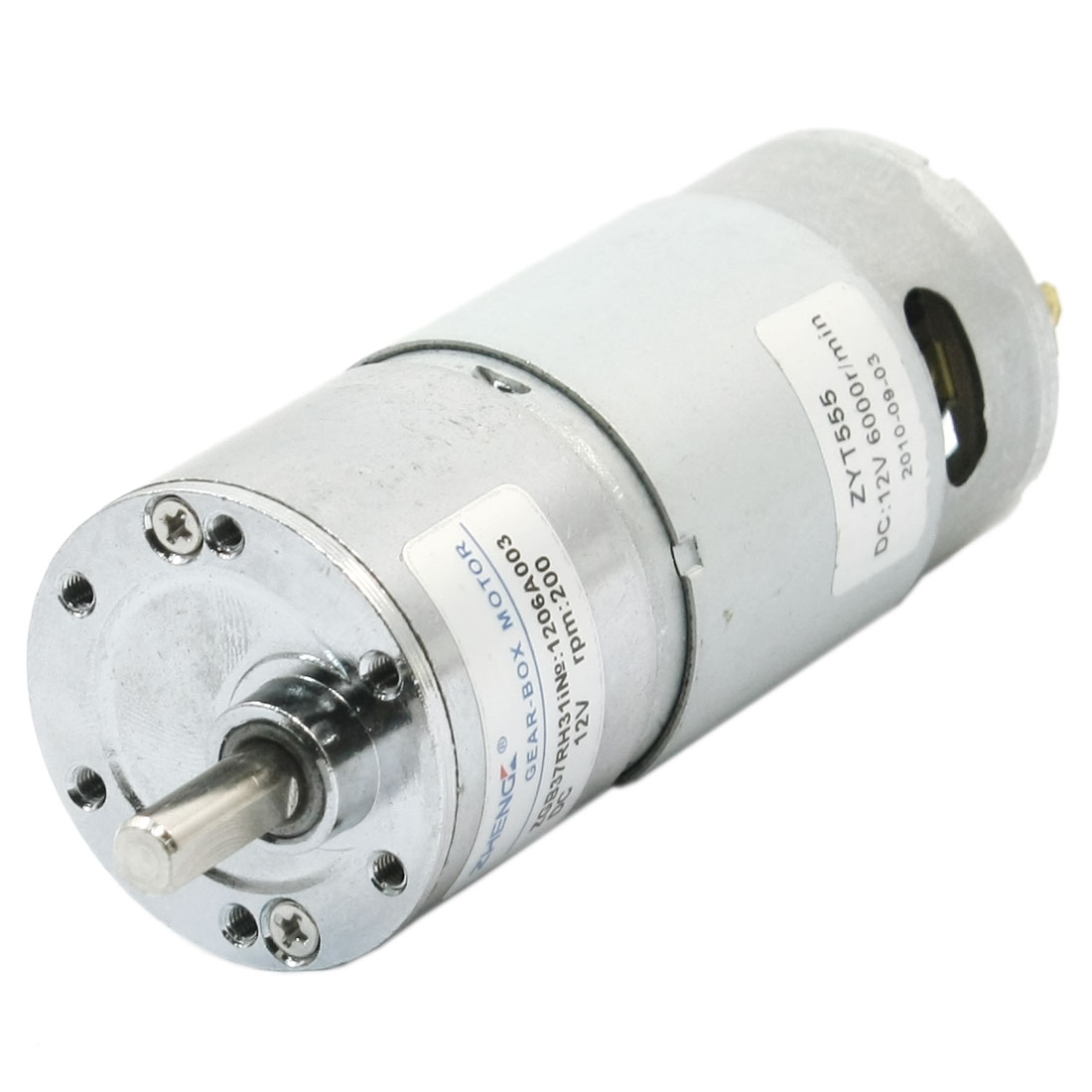 6mm x 15mm Shaft Reduction Ratio 6000RPM 200RPM Rotary Speed Reducing 2Pin Connect Cylinder Shape High Torque Gearbox Motor DC24V