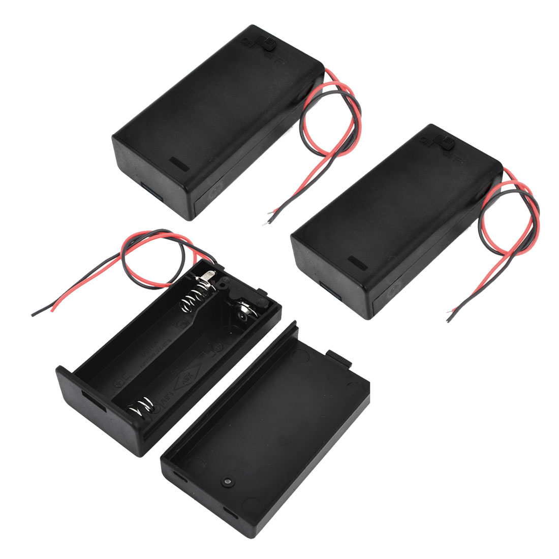 3 Pcs Two Wire Leads Spring Clip Battery Box Holder for 2x1.5V AA Batteries w Cap On/Off Switch