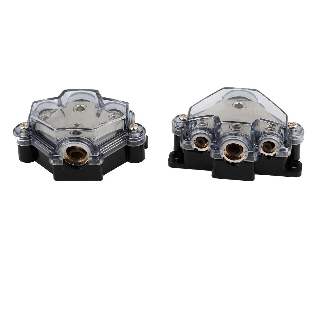 Black Gray Car Audio Amplifier 1 in 3 Power Distributor Block Fuse Holder