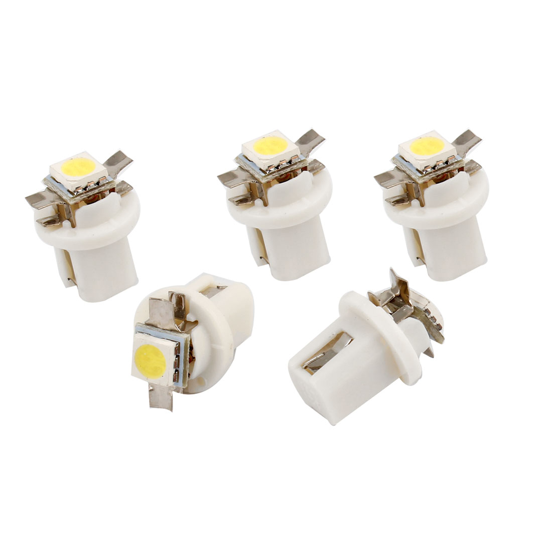 5 Pcs Car White T5 B8.5D 5050 SMD LED Dashboard Guage Indicator Light Internal