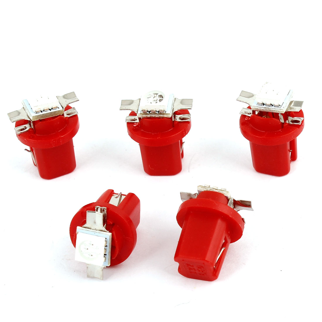 5 Pcs Red T5 B8.5D 5050 SMD LED Car Dashboard Guage Indicator Light Bulb Internal