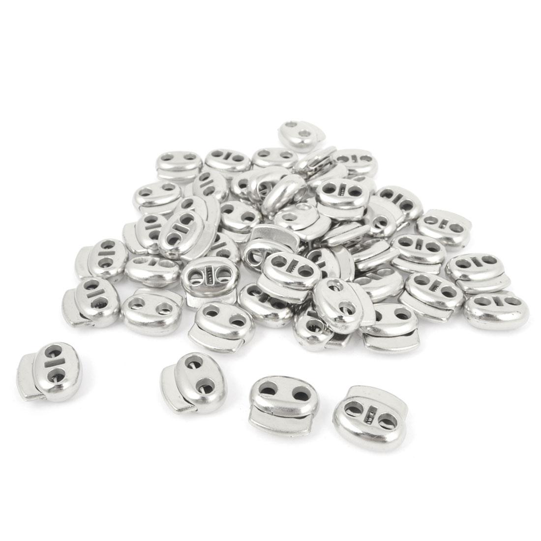 Silver Tone 4.5mm Dia Two Holes Spring Lanyard Cord Locks Toggles 50 Pcs