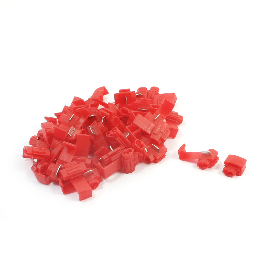 50Pcs 10A 22-18AWG Dual Slots Red Plastic Insulated Quick Wire Connector Terminal Cable Crimp Adapter 50 Pcs