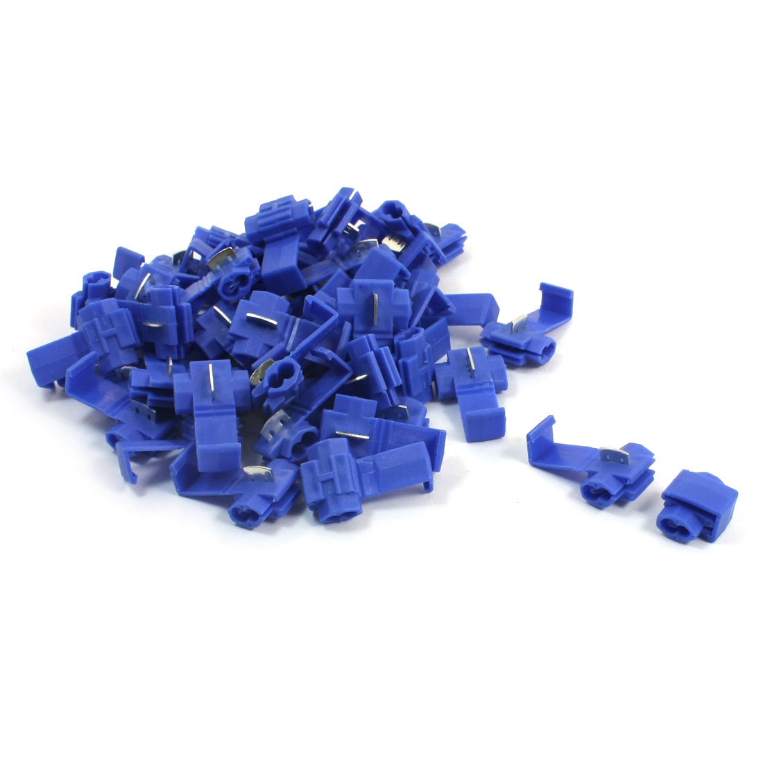 50Pcs 15A 18-14AWG Dual Slots Blue Plastic Insulated Quick Wire Connector Terminal Cable Crimp Adapter 50 Pcs