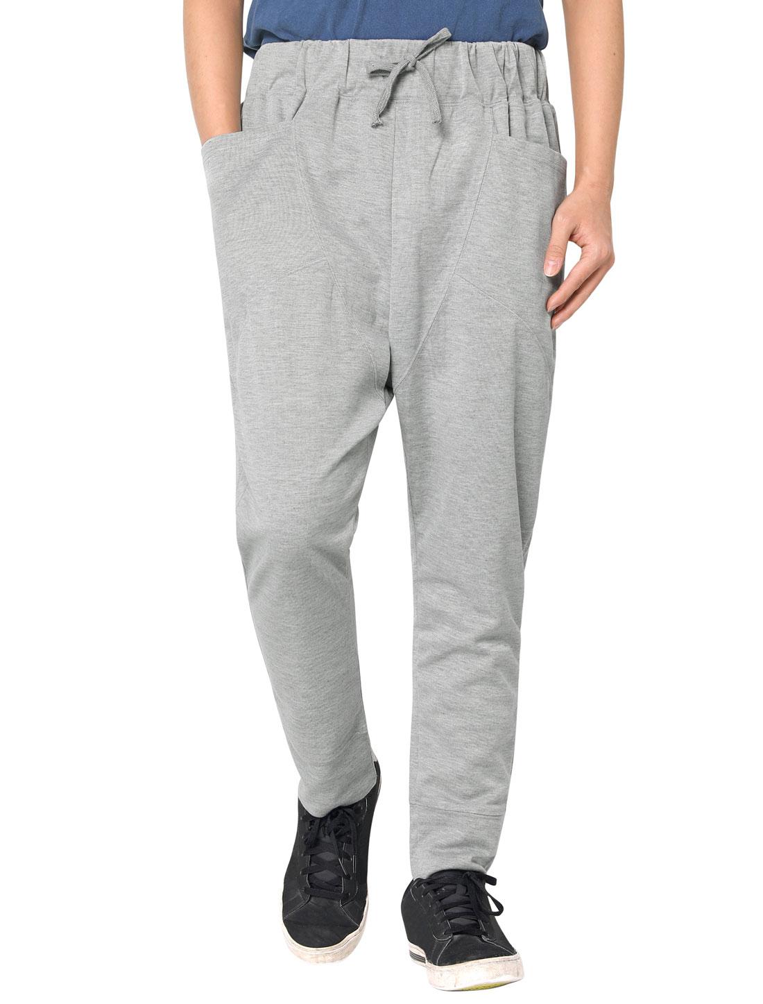 Men Stretchy Waist Design Sports Wear Light Gray Casual Pants W28/30