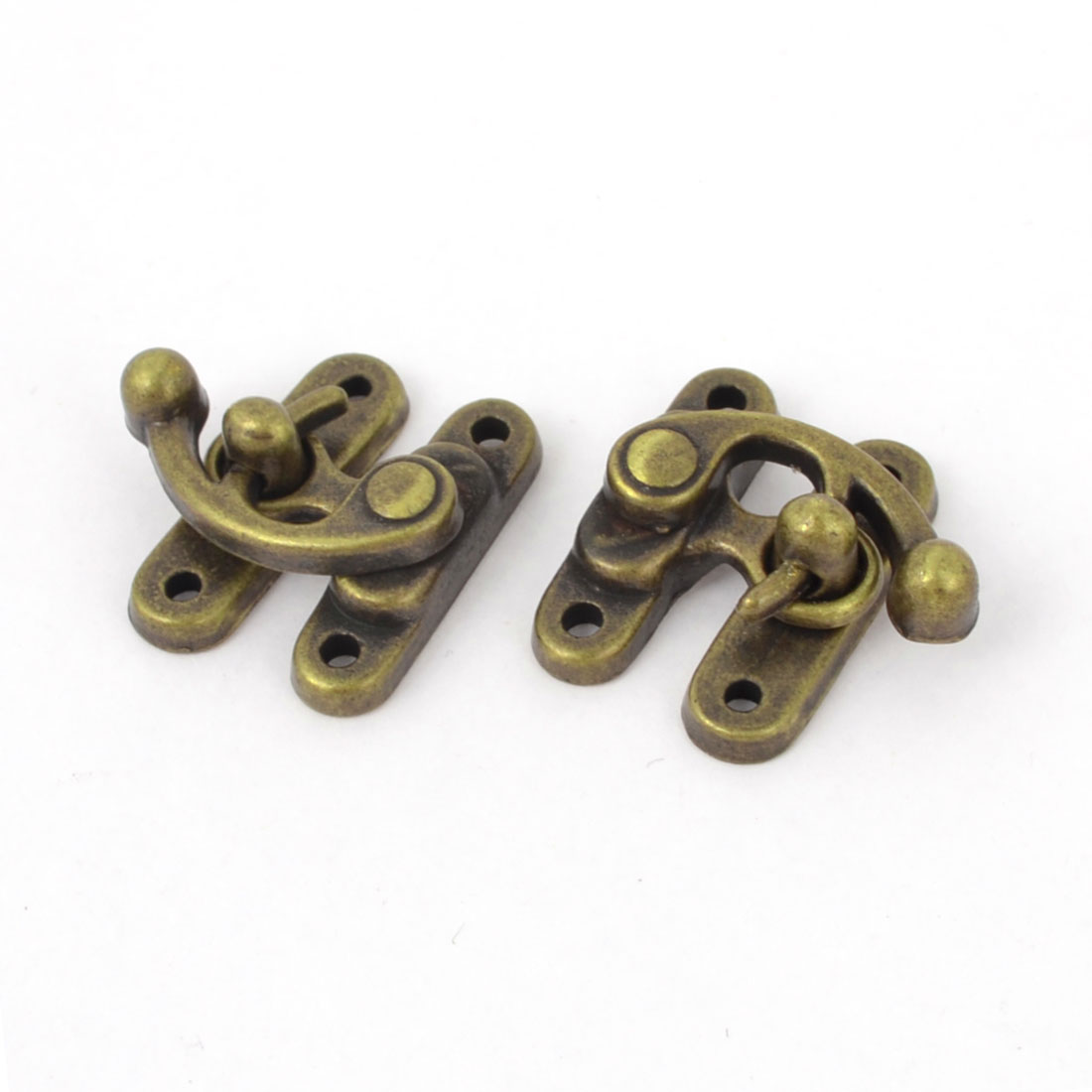 2 Pcs Bronze Tone Alloy Padlock Hasp Hook Jewelry Box Buckle Shackle Lock