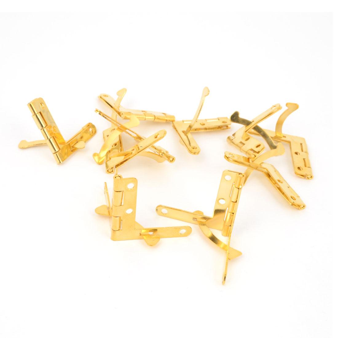 10 Pcs Gold Tone Metal Foldable Closet Cabinet Door Corner Hinges