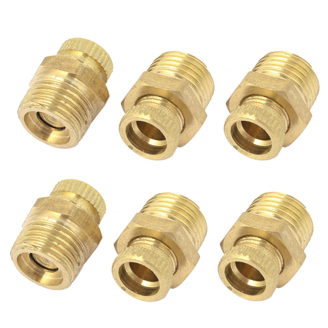 Air Compressor 1/4PT Male Thread Water Drain Valve Gold Tone 6 PCS