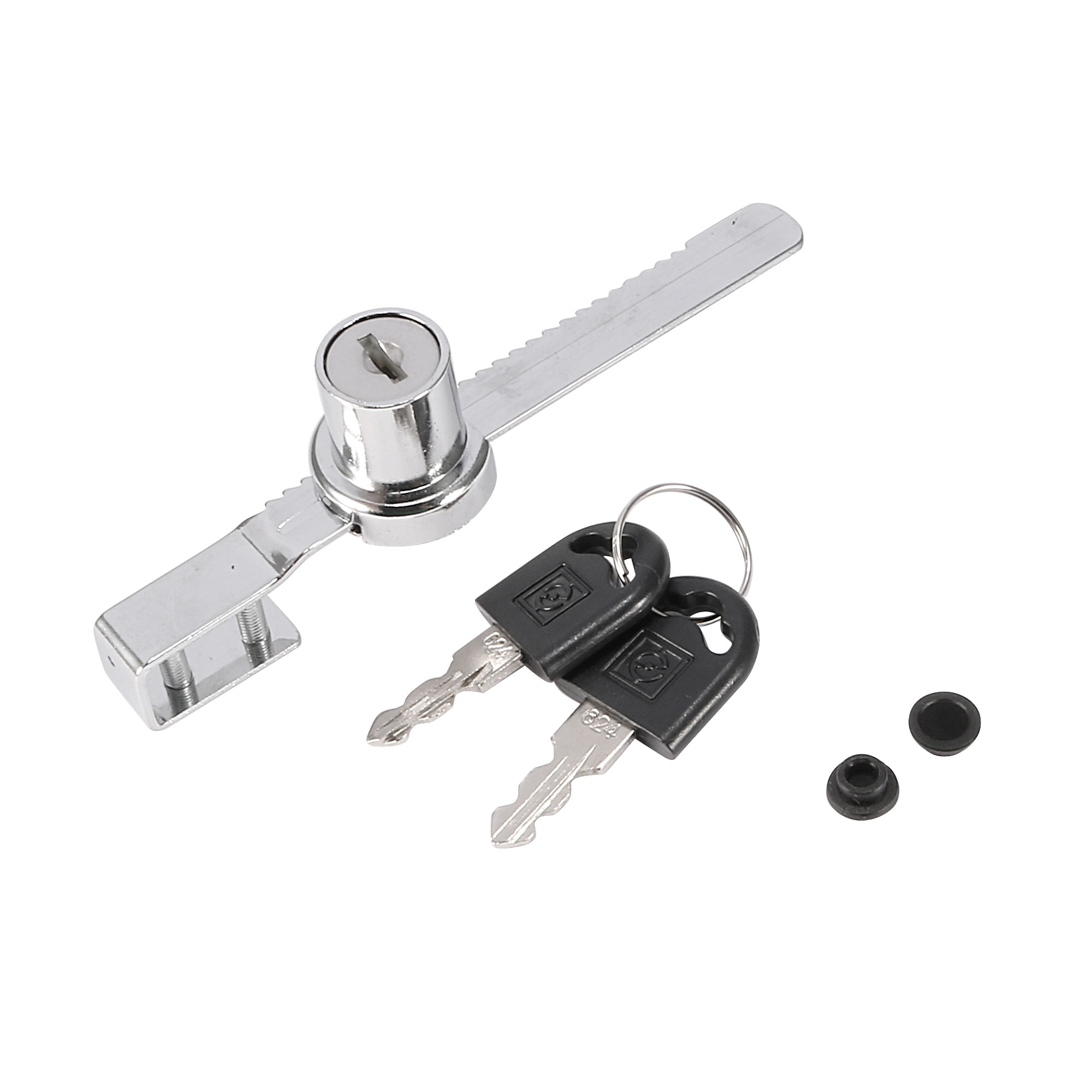 "4.7"" Long Silver Tone Sliding Glass Cabinet Door Lock + 2 Keys"