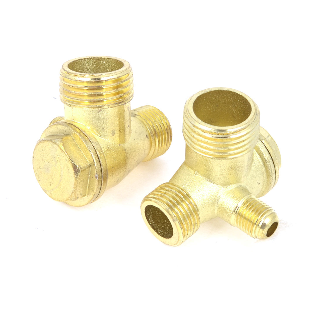 "2 Pcs 0.4"" 0.6"" 0.2"" Male Thread 3 Way Brass Fittings Air Compressor Check Valve Gold Tone"