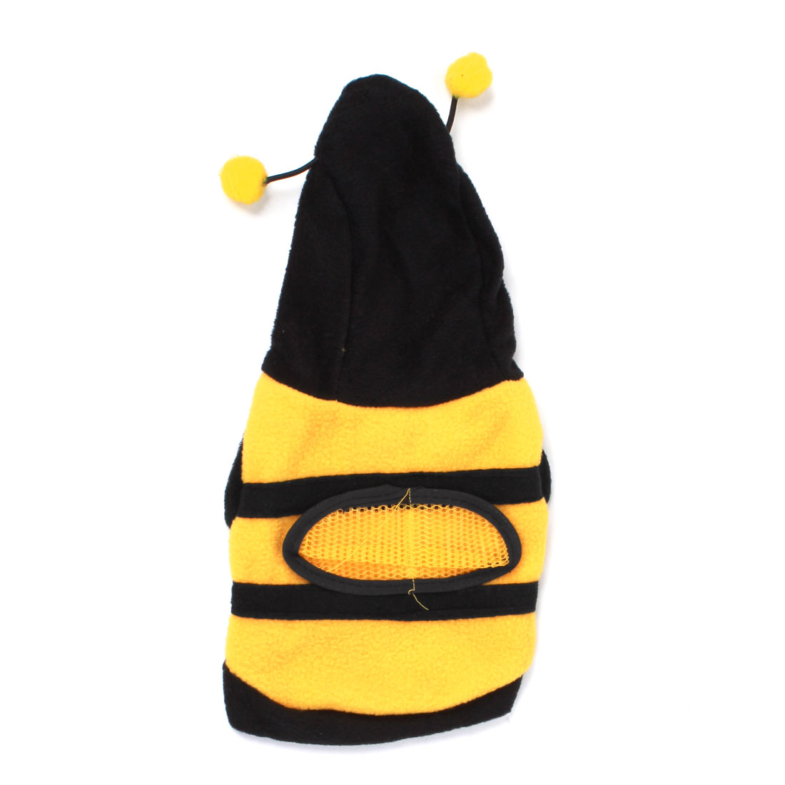 Single Breasted Bee Design Pet Dog Puppy Apparel Coat Black Yellow Size XXS