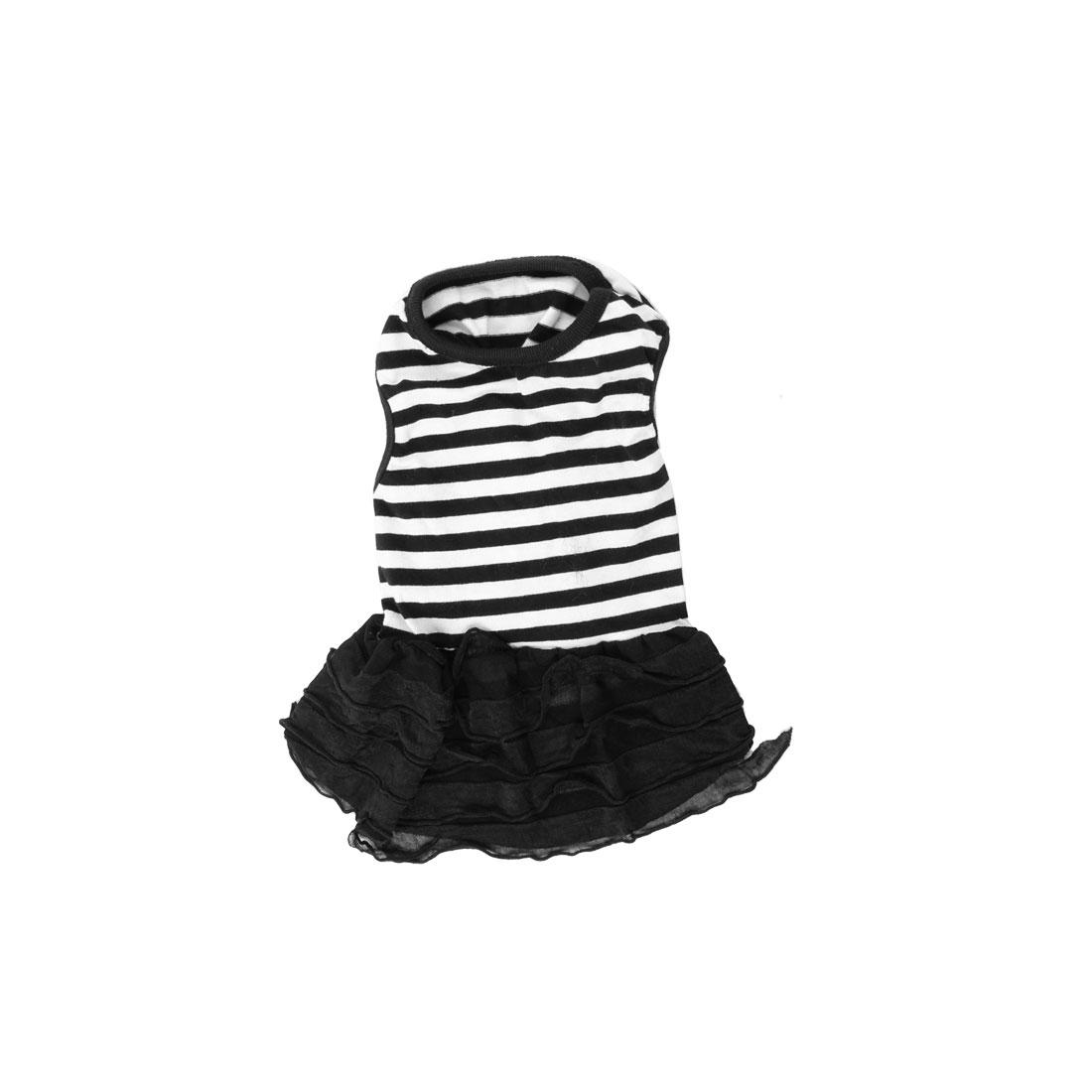 Tiered Sleeveless Stripe Printed Pet Dog Yorkie Dress Clothes Black White XS