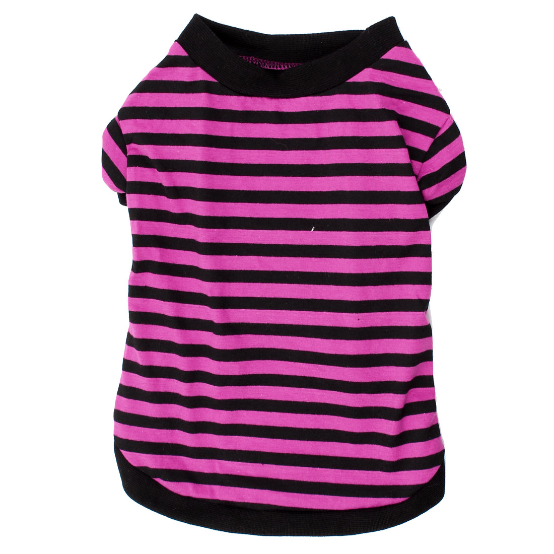 Summer Round Neck Stripe Print Pet Dog Shirt Clothes Fuchsia Black M