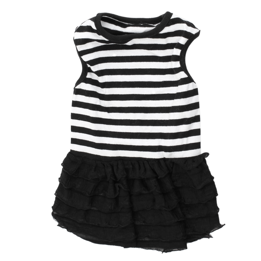 Round Collar Layered Stripe Pattern Pet Dog Yorkie Dress Skirt Black White S