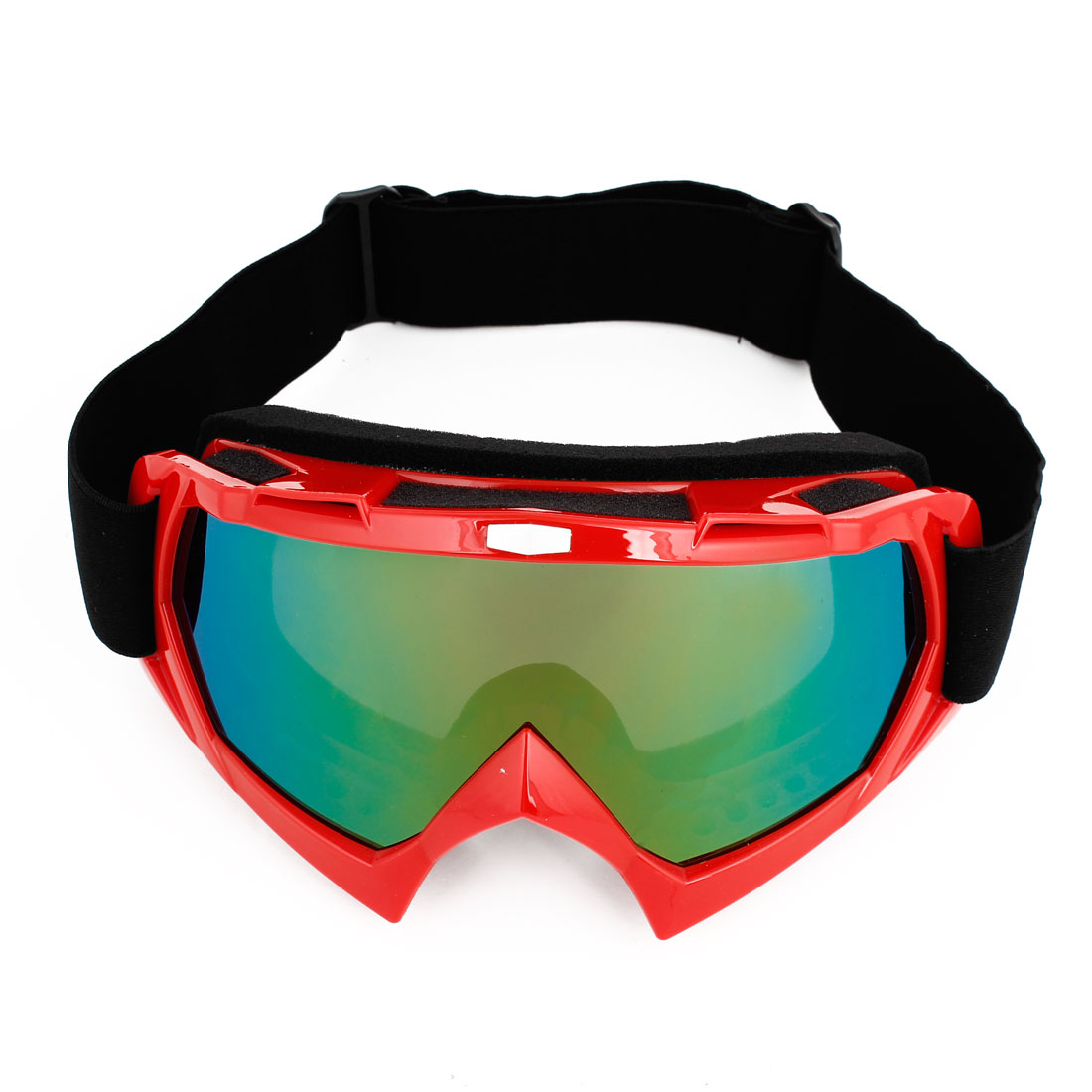 Adjustable Band Green Purple Lens Ski Motorcycle Goggles Glasses Red