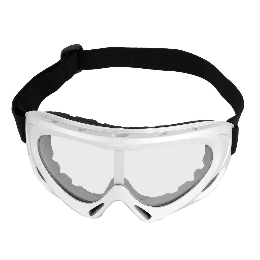Stretchy Strap Clear Lens Ski Motorcycle Goggles Glasses Silver Gray