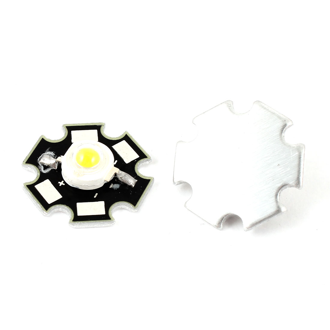 2pcs 3.0-3.9V 160-180LM 3W Warm White Light LED Emitter Lamp Bead w Heat Sink Base