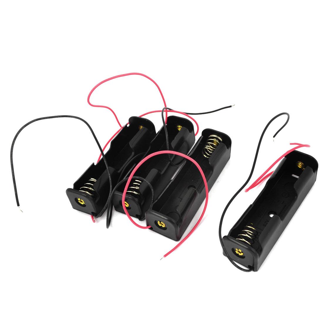 Spring Clip 3.7V 1x18650 Batteries Holder Storage Case Black 4Pcs