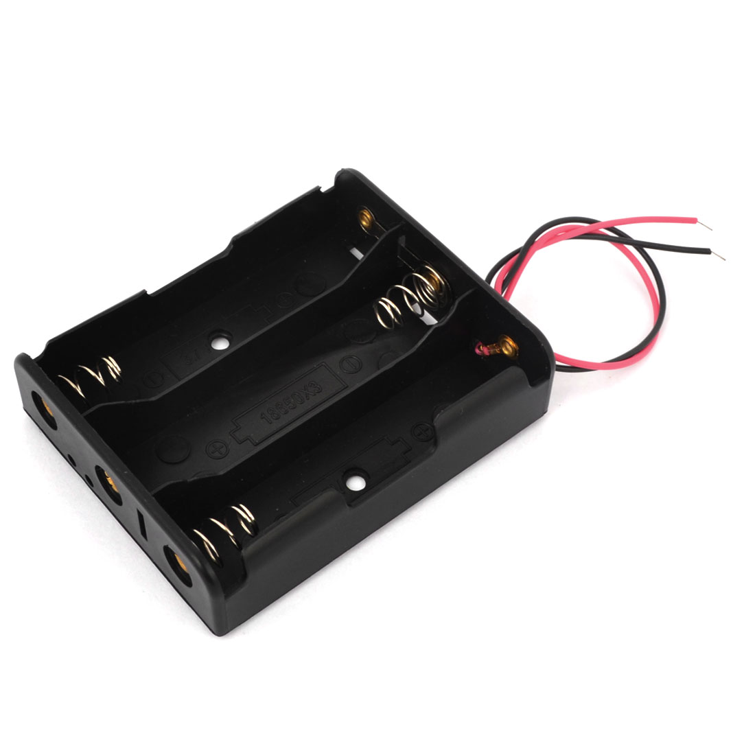 Two Wire Leads Black 3.7V 18650x3 Battery Case Slot Holder Black
