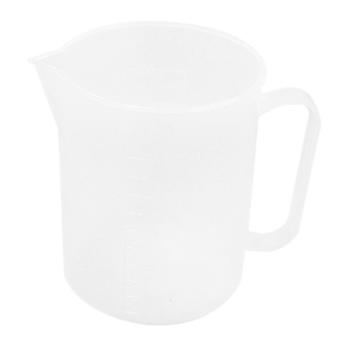 500mL Capacity 1.3cm Wide Handle Clear White Plastic Lab Beaker Measuring Cup