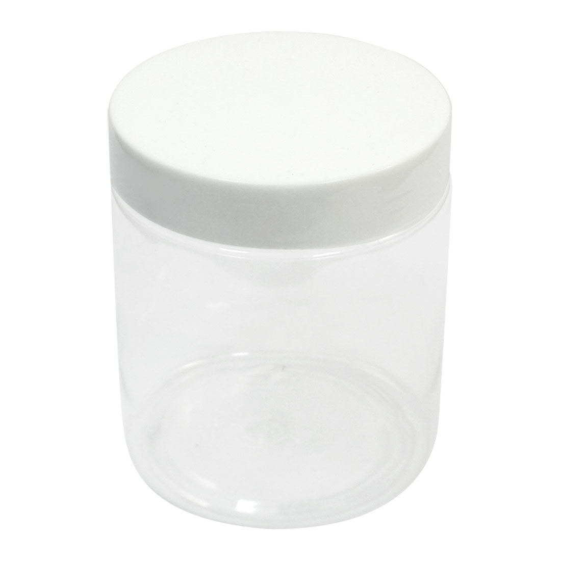 250ml Capacity 60mm Dia Mouth 8.5cm x 7cm White Clear Plastic Cylinder Body Plastic Widemouth Chemical Reagent Storage Jar Bottle for Laboratory