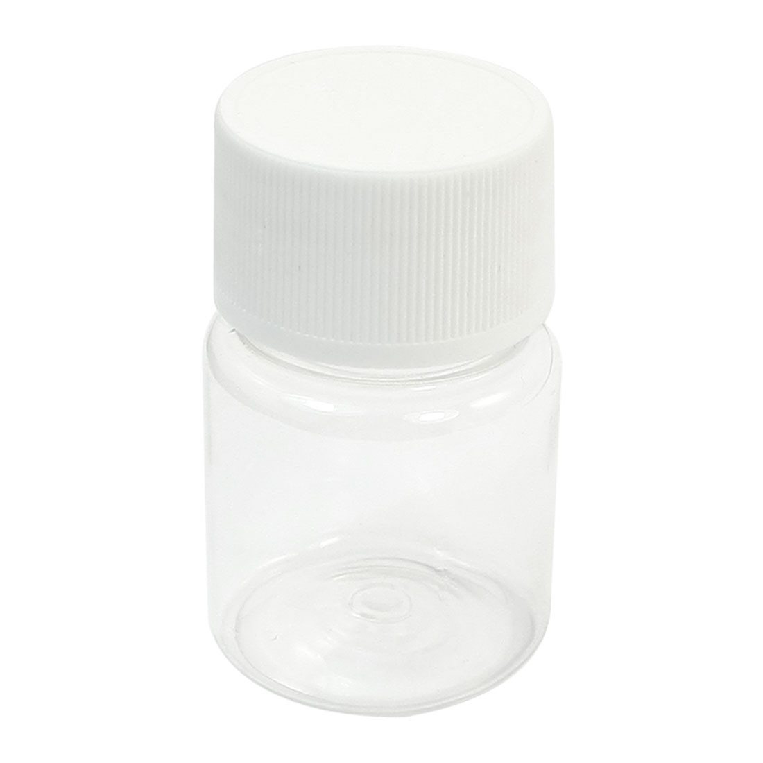 30mL Capacity 5.5cm x 3.5cm 23mm Dia Wide Mouth Clear Body White Skidproof Cap Plastic Cylinder Shape Chemistry Storage Case Bottle for Laboratory