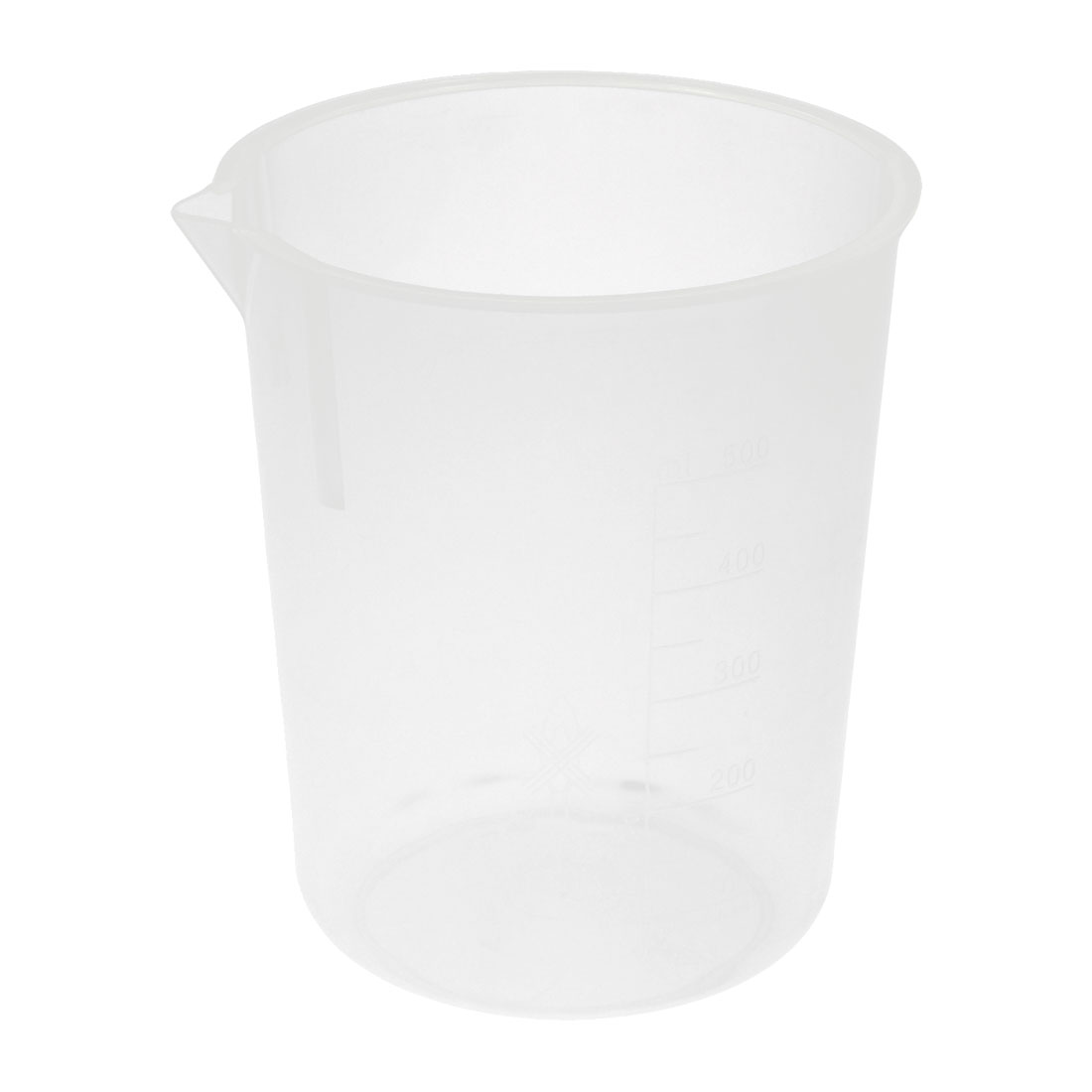 11cm x 12cm 500mL Capacity Clear White Graduated Scale Plastic Beaker Measuring Cup Liquid Measurer Holder for Lab Laboratory