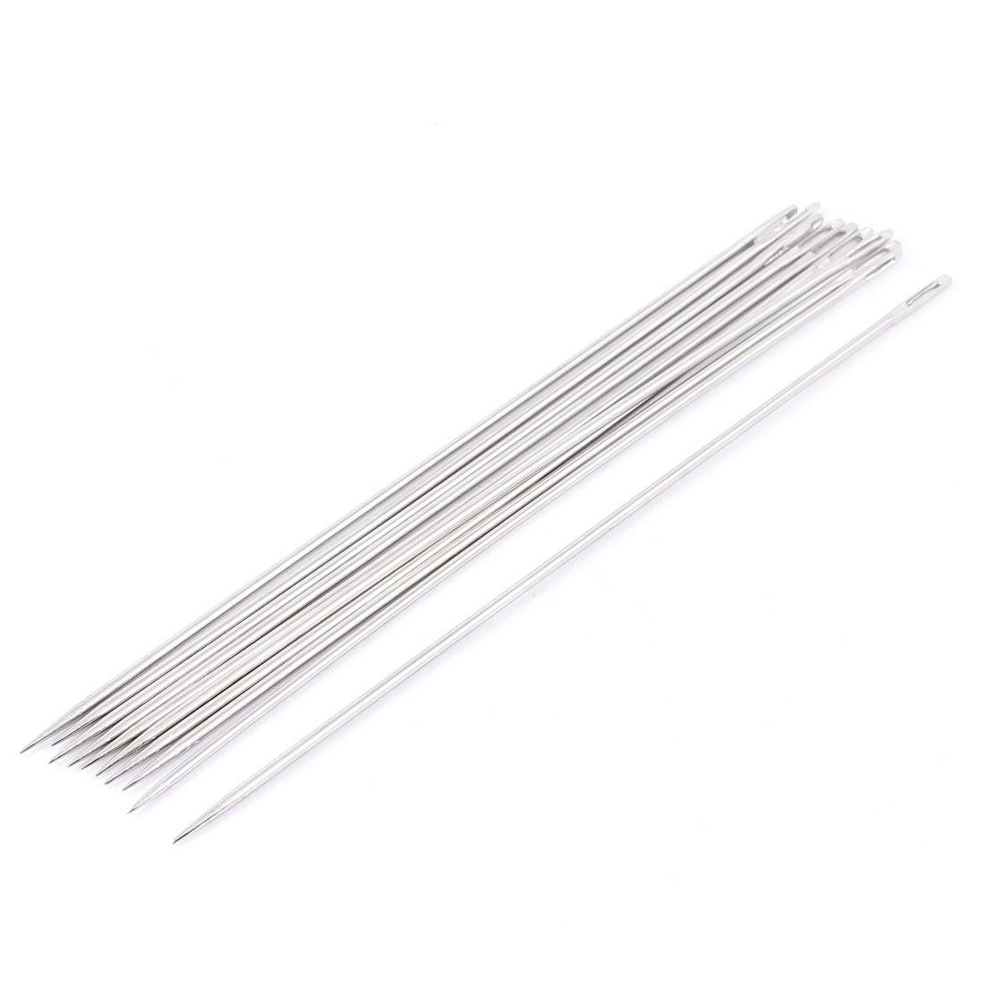 "6"" Length Silver Tone Metal Sharp Tip Threading Sewing Needles 10 Pcs"