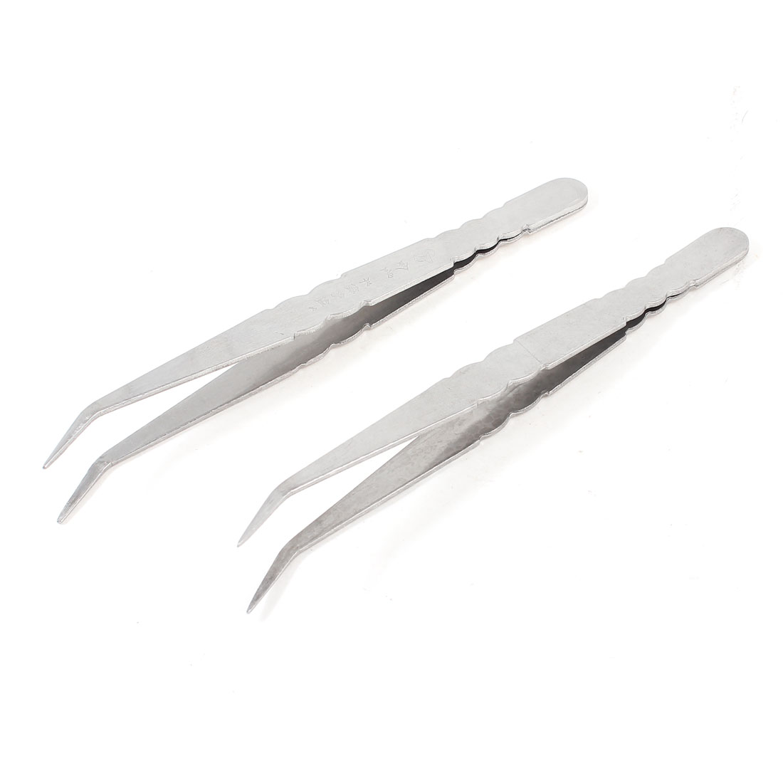 "2 Pieces Silver Tone Bent Curved Pointed Tip Tweezers Tool 6"" Long"