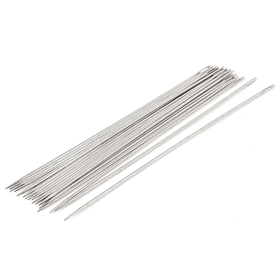 "6"" Length Silver Tone Metal Sharp Tip Threading Sewing Needles 20 Pcs"
