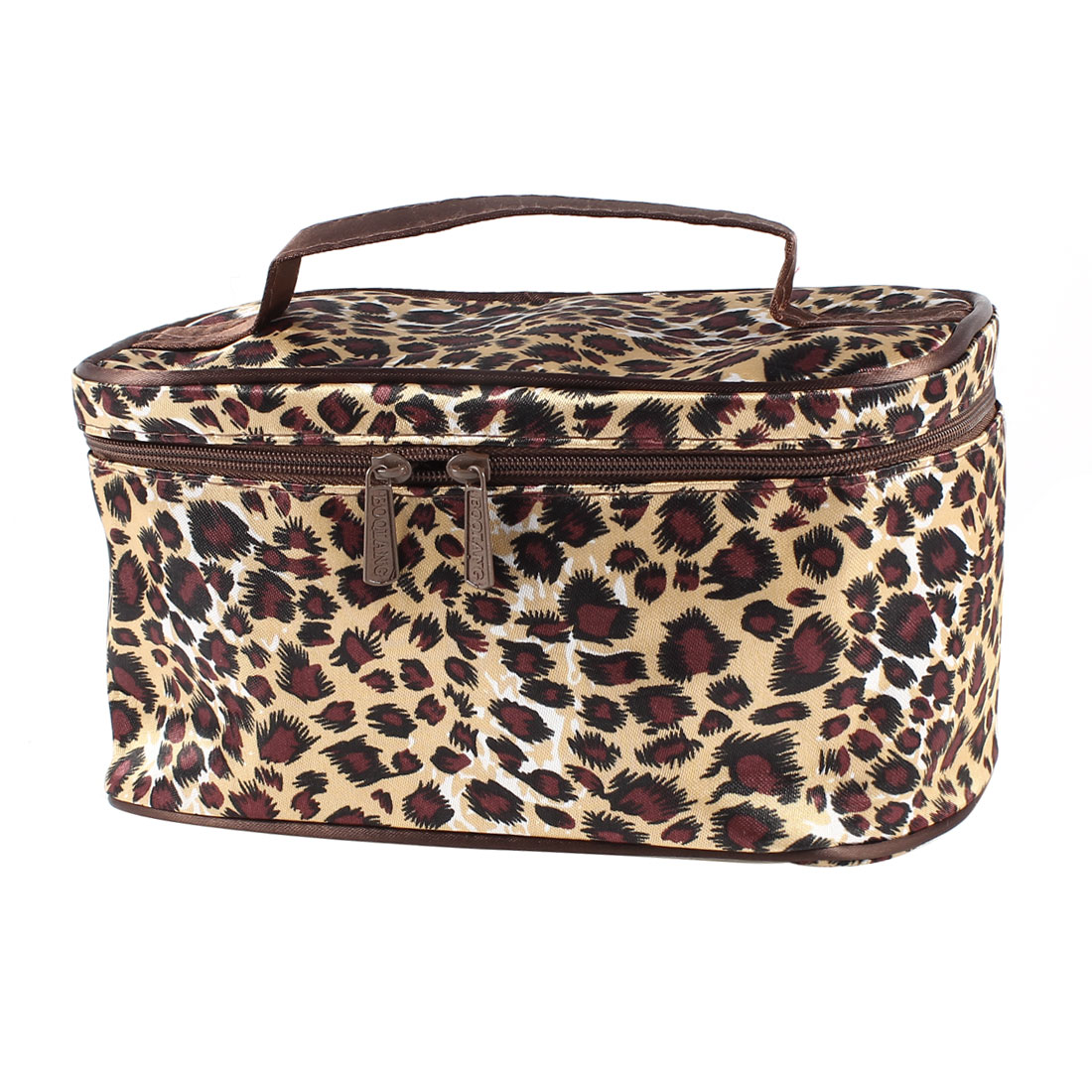 Beige Black Leopard Print Dual Zipper Closure Makeup Cosmetic Hand Bag w Mirror