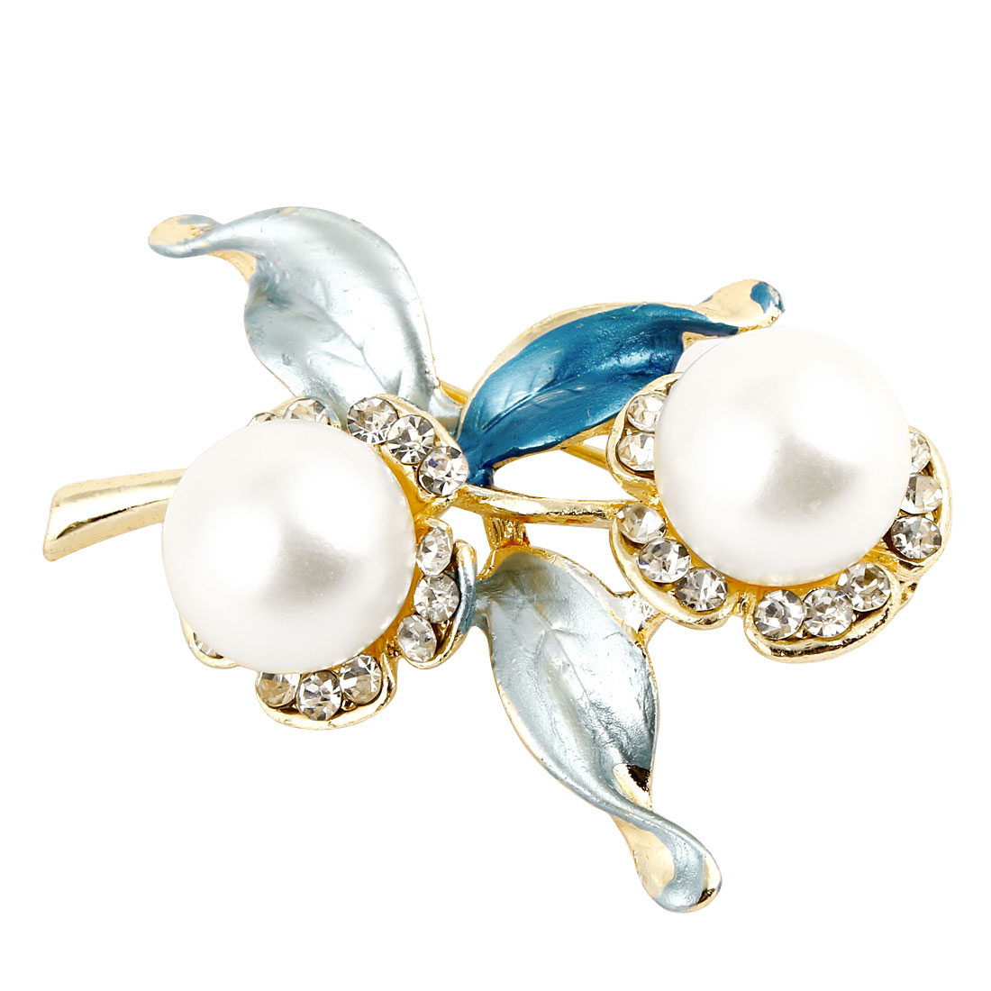 Ladies Imitation Pearl Detailing Blue Leaf Flower Shaped Pin Brooch Broach
