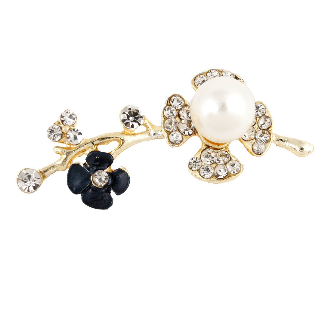 Lady Gold Tone Rhinestones Embellished Flower Decor Brooch Breast Pin
