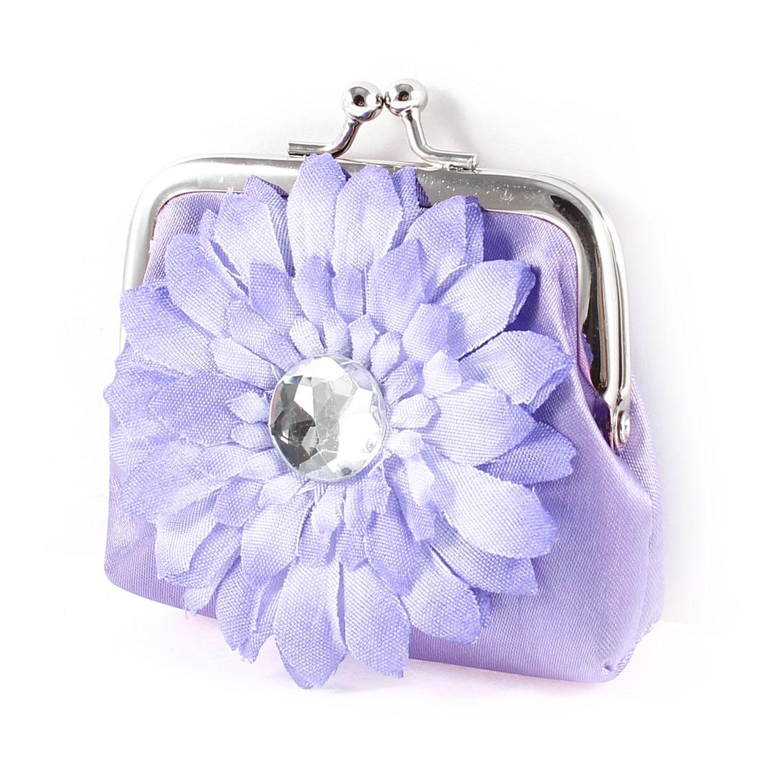 Kiss Clasp Rhinestone Decor Purple Hand Purse Coin Money Bag Pouch