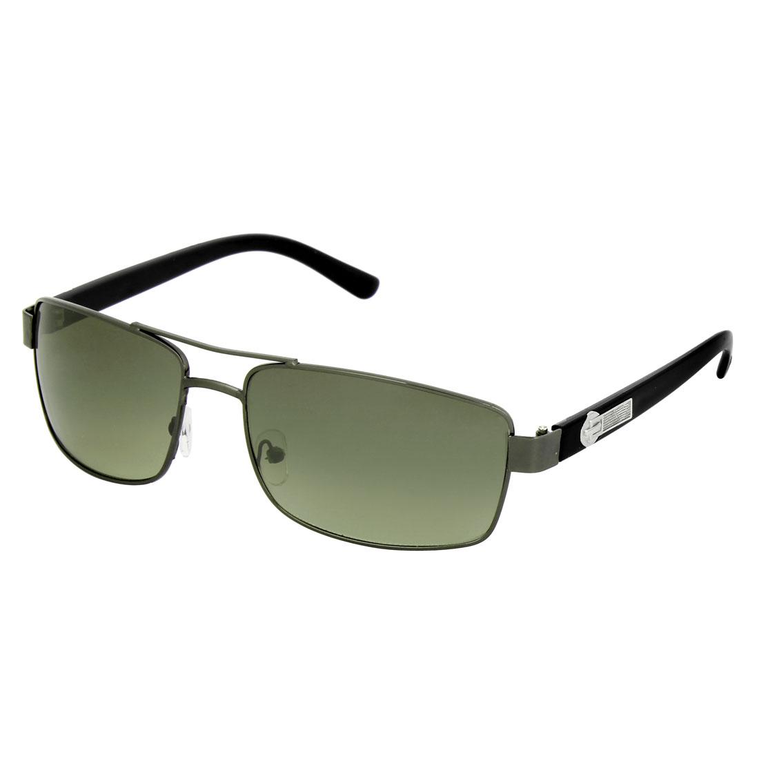 Dual Bridge Green Lens Aviator Polarized Sunglasses for Men